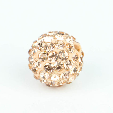 Crystal Pave Beads 10 mm Peach