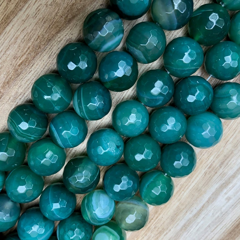 Natural Green Agate Smooth Beads, Agate 14 mm Faceted Round Shape Beads