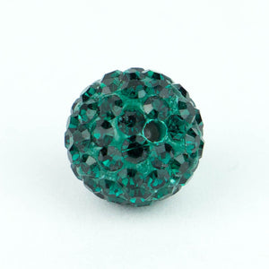 Crystal Pave Beads 12 mm Emerald