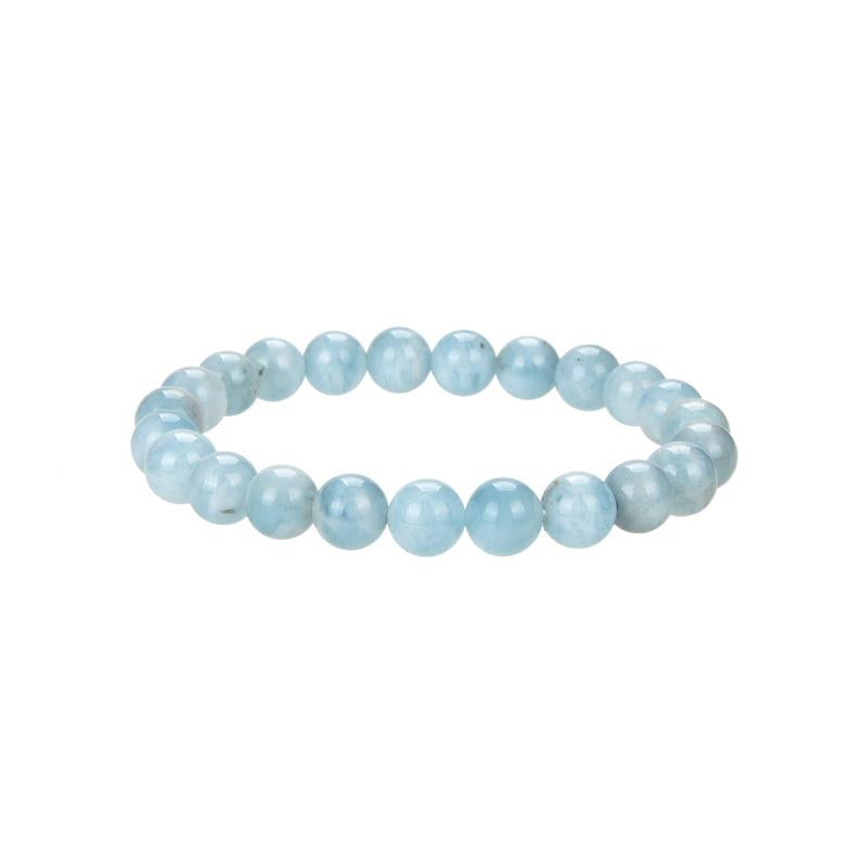 Natural Aquamarine Beaded Bracelet, Round Shape 8 mm Aquamarine Beaded Bracelet