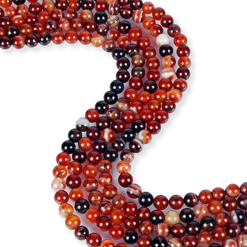 Natural Orange Black Agate Beads, Agate 8 mm Smooth Beads, Round Shape Agate Beads