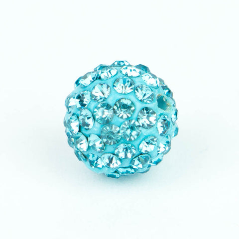 Crystal Pave Beads 12 mm Aqua