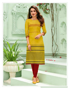 Designer Women's Cotton Round Neck  Kurti