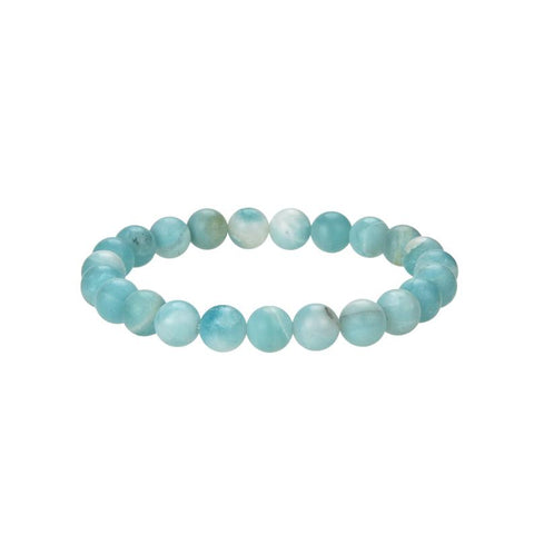 Natural Matte Amazonite Beaded Bracelet, Amazonite 8 mm Round Beaded Bracelet
