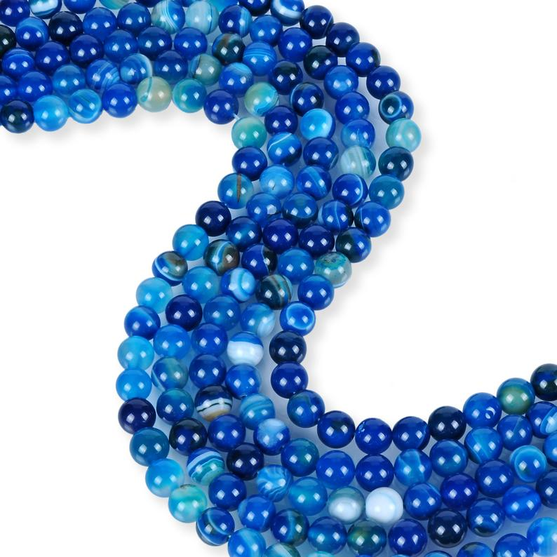 Natural Blue Stripped Agate Beads, Agate 8 mm Beads, Stripped Agate Round Shape Beads