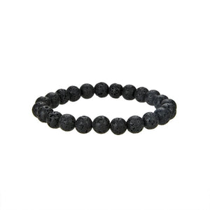 Natural Black Lava Beaded Bracelet, 8 mm Round Black Lava Beaded Bracelet
