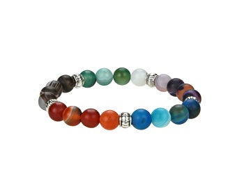 Natural Multi Stones Beaded Bracelet With Metal, Multi Stone 8 mm Round Shape Bracelet