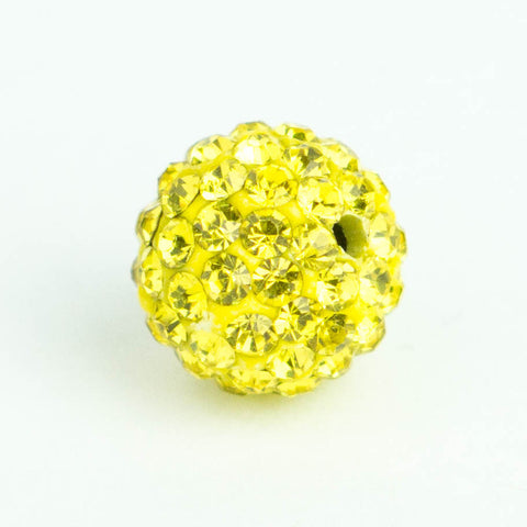 Crystal Pave Beads 12 mm Yellow