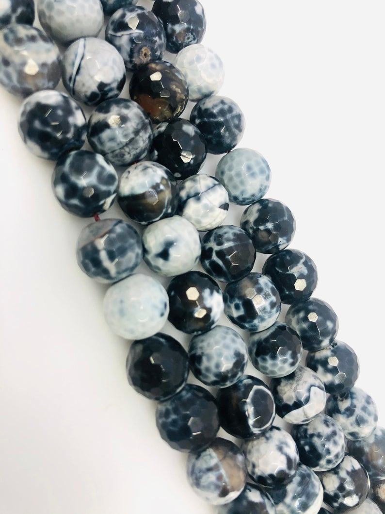 Natural Black Spotted Agate Beads, Round Shape 10 mm Agate Beads, Agate Smooth Beads