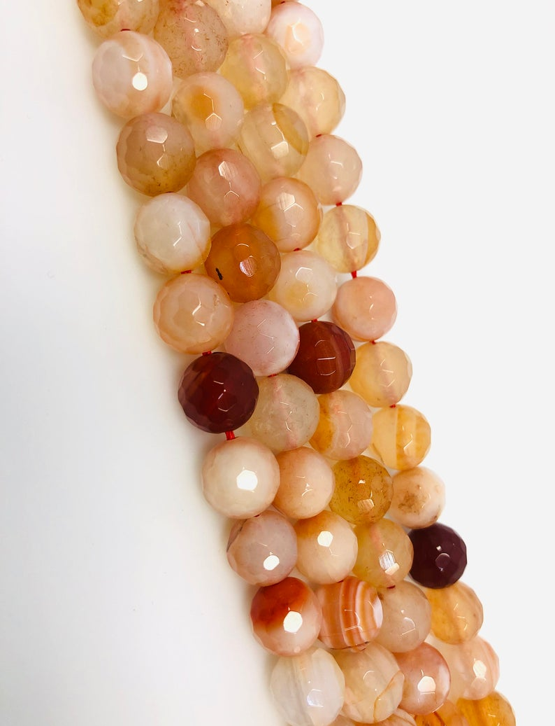 Natural orange Agate Beads, Round Shape 10 mm Agate Beads, Agate Smooth Beads