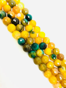 Natural Yellow Indian Agate Beads, Agate Smooth Beads, Round Shape Beads