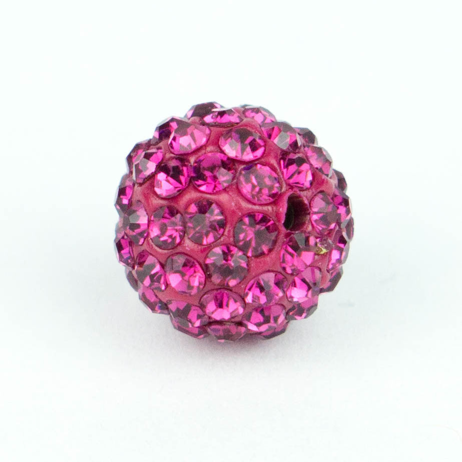 Crystal Pave Beads 12 mm Fuschia