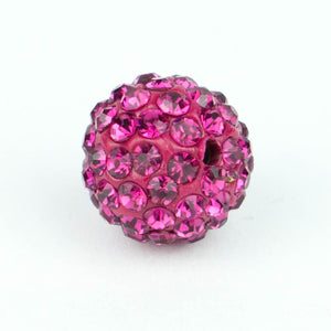 Crystal Pave Beads 10 mm Fuschia