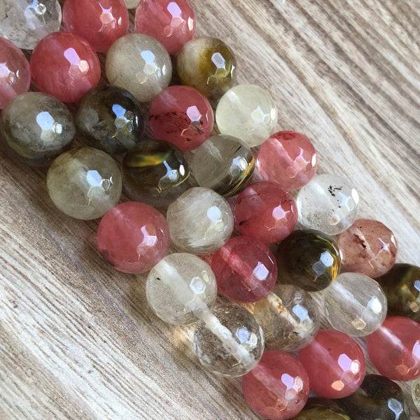 Natural Cherry Quartz Faceted Round Beads, Cherry Quartz 6 mm 8 mm, 12 mm Faceted Beads