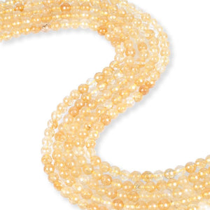 Natural Citrine Beads, Citrine 6 mm Faceted Beads, Round Shape Citrine Beads