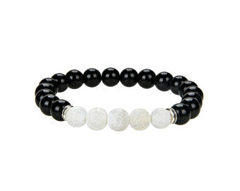 Natural Black Onyx and Frosted Agate Beaded Bracelet, 8 mm Round Shape Beaded Bracelet