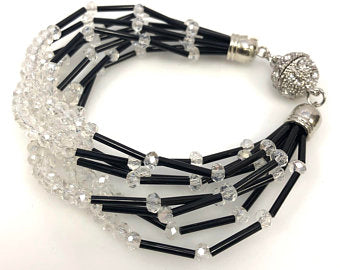 Crystal Glass Multi Strand Beaded Bracelet, Rhinestone Magnetic Clasp Beaded Bracelet,
