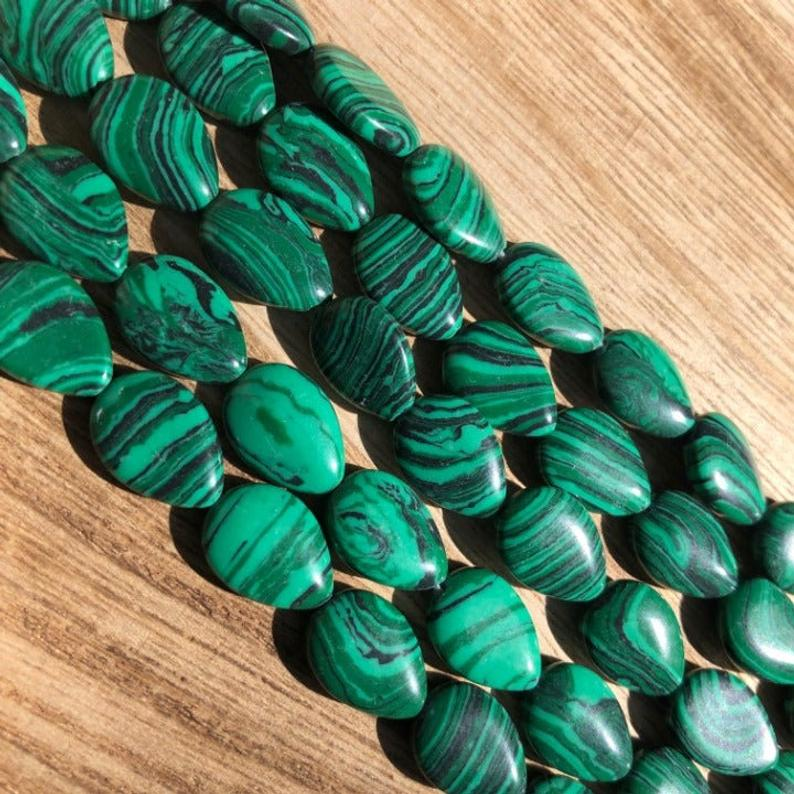 Malachite Beads, Malachite Smooth Beads, Malachite Pear Shape 14x10 mm Beads