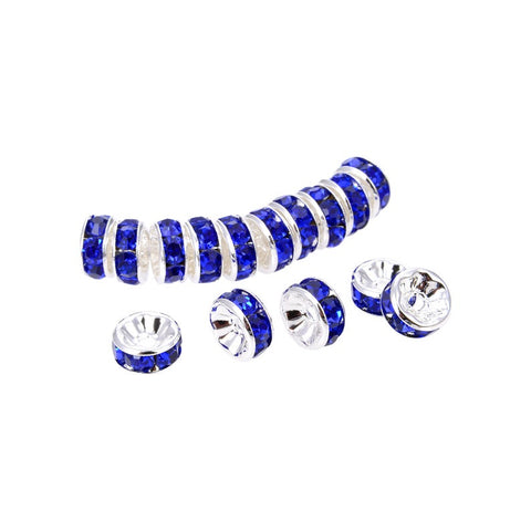 Silver Plated Blue Quartz Crystal Roundelle Spacer Beads, Blue Quartz 10 mm Loose Beads