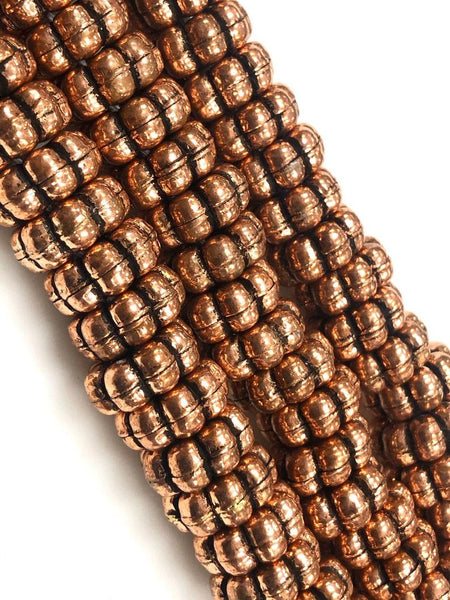 Handmade Solid Copper Bali Style Daisy Spacer Beads, Copper Beads 25 Pcs