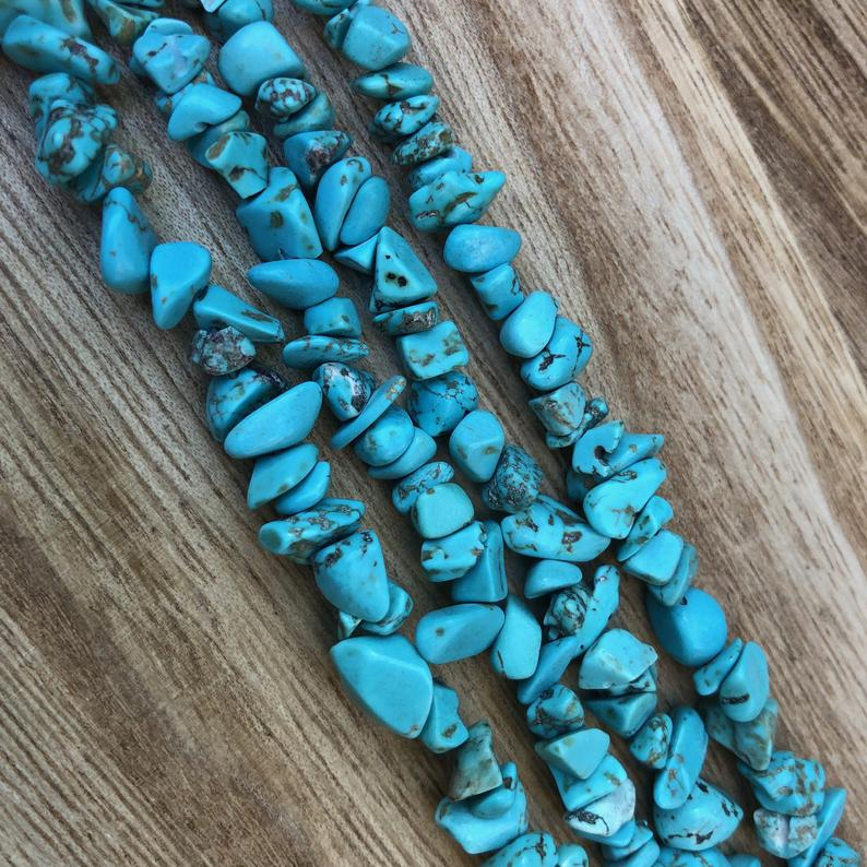 Natural Hawlite Turquoise Beads, Turquoise Smooth Chips Shape Beads
