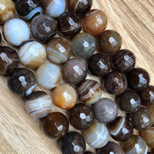 Natural Brown Agate Faceted Beads, Agate Round Shape 14 mm Smooth Beads