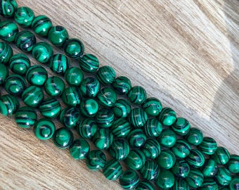 Synthetic Malachite Beads, Malachite Round Shape 6 mm , 8 mm Beads
