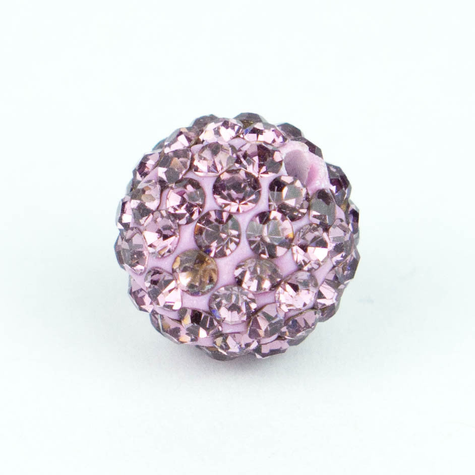 Crystal Pave Beads 10 mm Lt. Amethyst