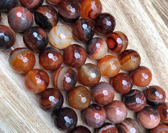 Natural Multi-Color Agate Beads, Agate 12 mm Round Shape Faceted Beads