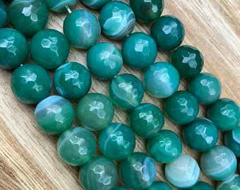 Natural Multi-Color Agate Smooth Beads, Agate 12 mm Faceted Round Shape Beads