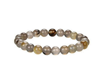 Natural Multi-Color Stripped Agate Beaded Bracelet, Agate 8 mm Round Beaded Bracelet
