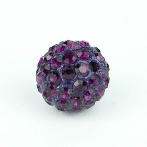 Crystal Pave Beads 10 mm Amethyst
