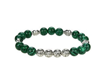 Natural Beaded Bracelet With Metal, Malachite 8 mm Round Bracelet