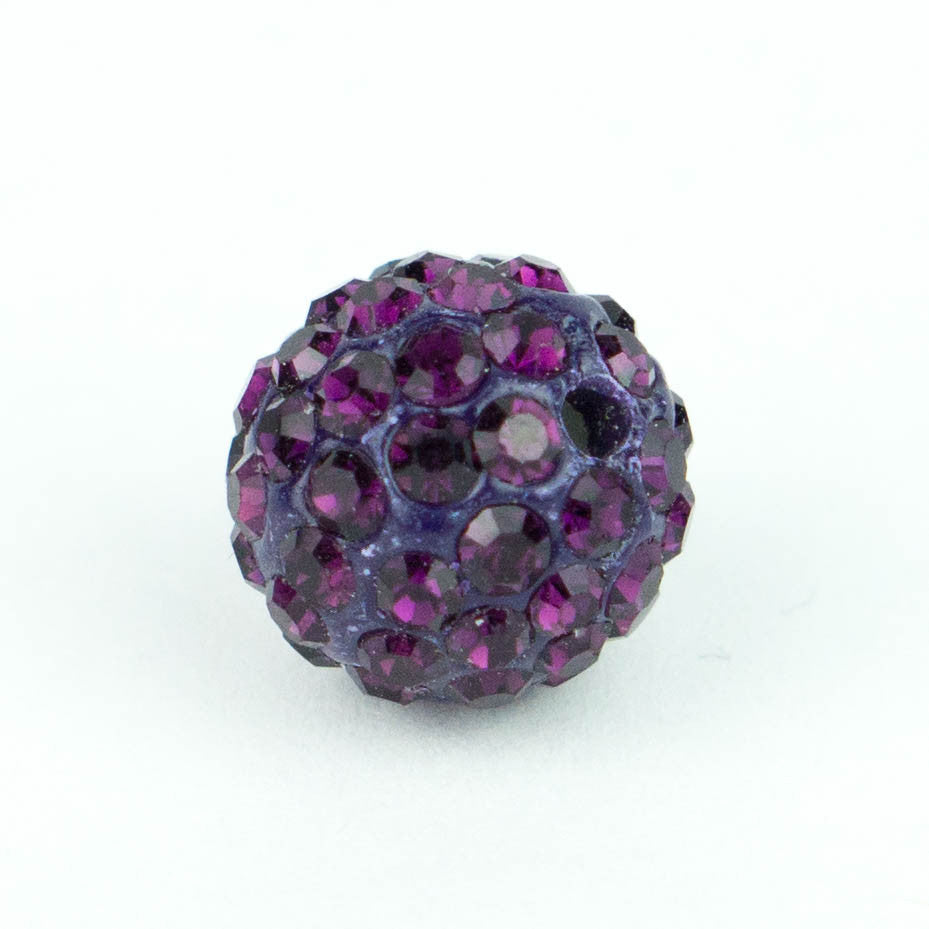 Crystal Pave Beads 12 mm Amethyst