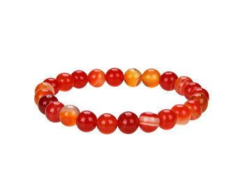 Natural Stripped Agate Beaded Bracelet, Round 8 mm Agate Beaded Bracelet