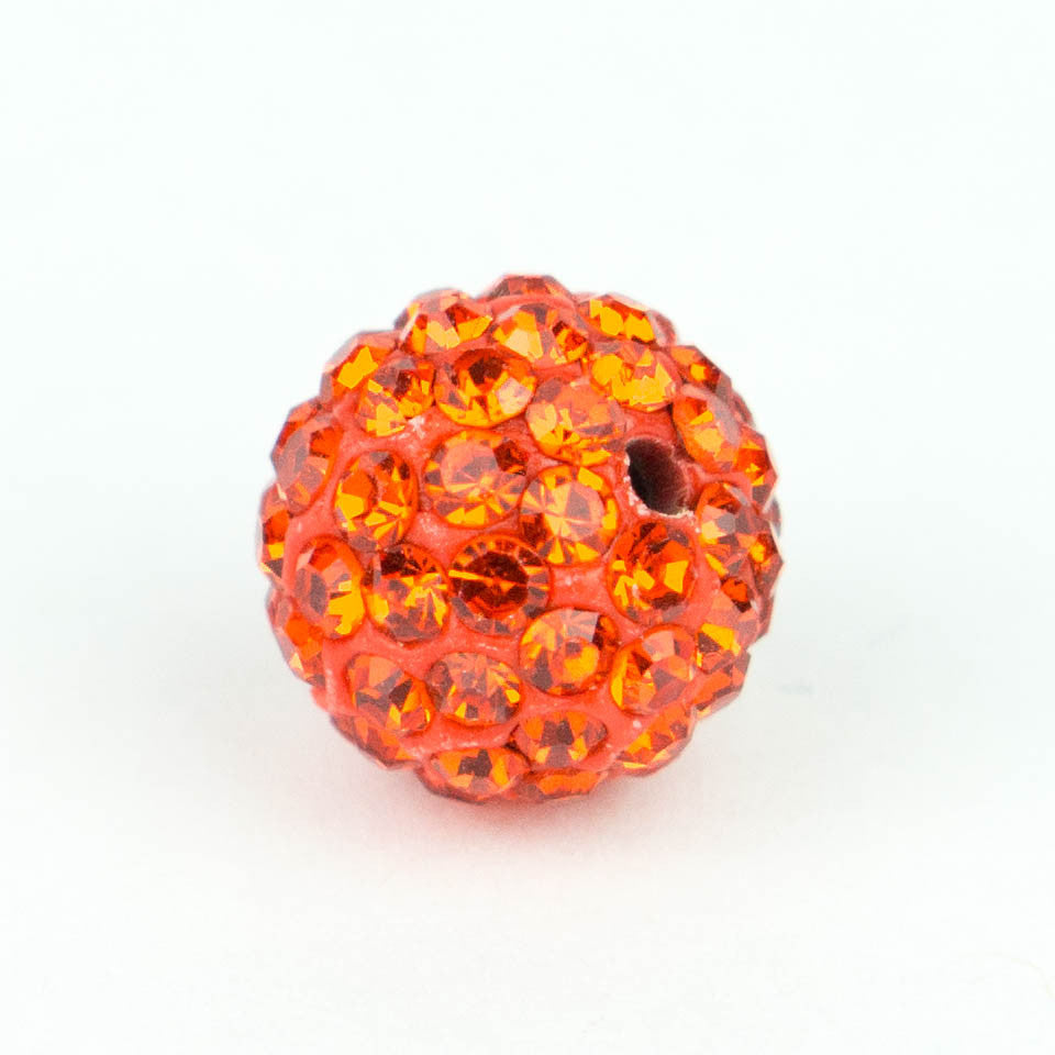 Crystal Pave Beads 8 mm Orange