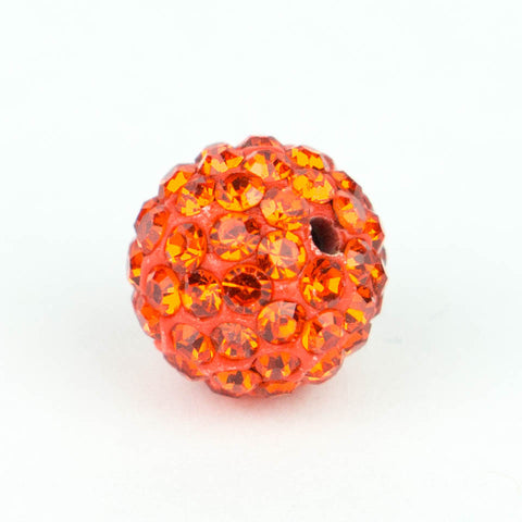 Crystal Pave Beads 12 mm Orange