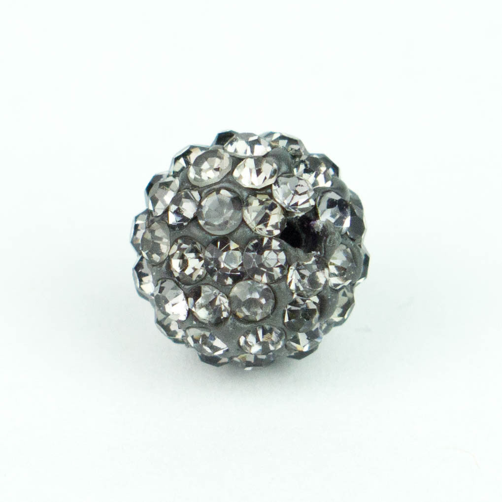 Crystal Pave Beads 10 mm Grey