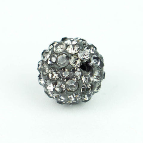 Crystal Pave Beads 12 mm Grey