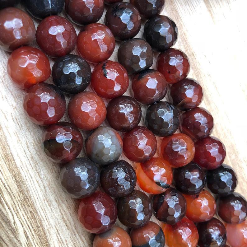 Natural Red and Black Agate Smooth Beads, Agate 10 mm Round Shape Beads