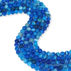 Natural Frosted Blue Agate Beads, Agate Round Shape Beads, 8 mm Smooth Agate Beads