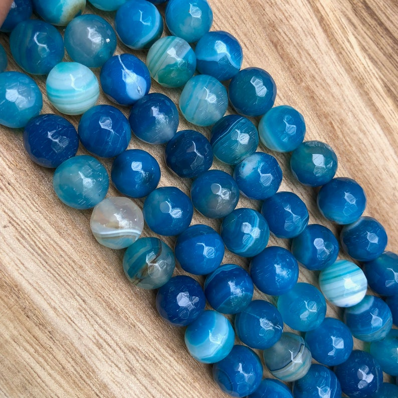 Natural Ocean Blue Agate Beads, Agate 10 mm Round Shape Beads