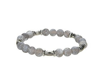 Natural  Frosted Agate Beaded Bracelet With Metal, Round Shape 8 mm Agate Beaded Bracelet