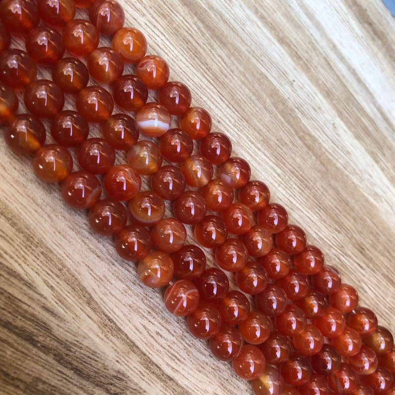 Natural Carnelian Beads, Carnelian 8 mm Round Shape Beads