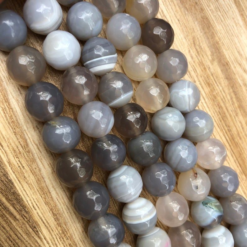 Natural Grey Agate Beads, Agate 10 mm Round Shape Faceted Beads