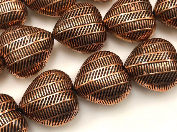 Handmade Solid Copper Bali Style Spacer Beads, Copper Heart Shape Beads 25 Pcs
