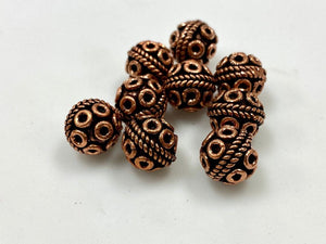 Copper Beads, Solid Copper Handmade Antique Look Beads 10mm 8 Pcs Set
