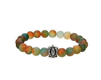 Natural Agate Beaded Bracelet With Metal, 8 mm Round Multi-Color Agate Beaded Bracelet