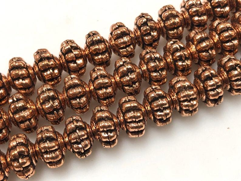 Solid Copper Bali Style Spacer Beads, Copper Beads 25 Pcs