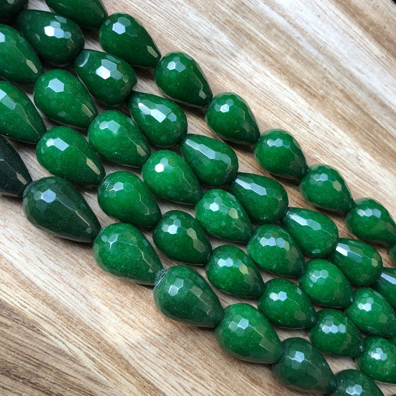 Natural Emerald Jade Beads, Emerald Jade 10x14 mm Drops Shape Beads
